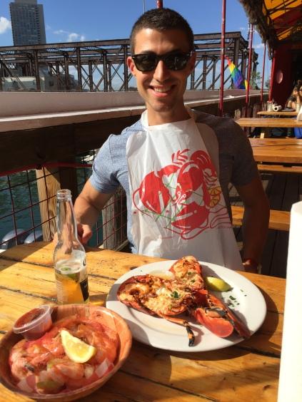 Boston harbor lobster and shrimp.