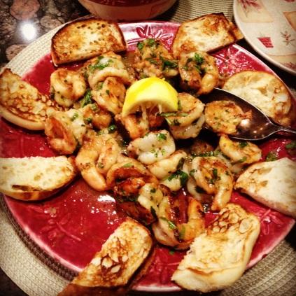 Seared shrimp.