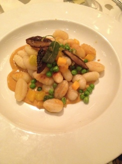 Gnocci with pumpkin, sage, and peas.